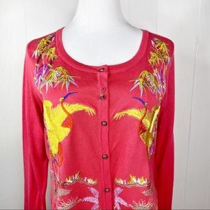 Soft Surroundings Embroidered Crane Cardigan Med